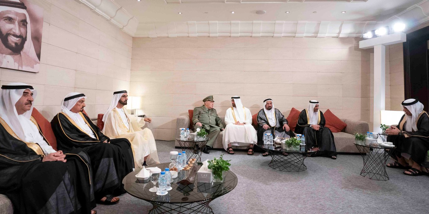 ABU DHABI, UNITED ARAB EMIRATES - December 2, 2018: HH Sheikh Mohamed bin Zayed Al Nahyan, Crown Prince of Abu Dhabi and Deputy Supreme Commander of the UAE Armed Forces (5th L), meets with HE Ahmed Gaid Salah, Vice Minister of Defense, and Chief of Staff of the Algerian People's National Army (4th L), prior to the official 47th UAE National Day Celebration 'This is Zayed. Seen with HH Sheikh Saud bin Rashid Al Mu'alla, UAE Supreme Council Member and Ruler of Umm Al Quwain (L), HH Sheikh Humaid bin Rashid Al Nuaimi, UAE Supreme Council Member and Ruler of Ajman (2nd L), HH Sheikh Mohamed bin Rashid Al Maktoum, Vice-President, Prime Minister of the UAE, Ruler of Dubai and Minister of Defence (3rd L), HH Dr Sheikh Sultan bin Mohamed Al Qasimi, UAE Supreme Council Member and Ruler of Sharjah (6th L), HH Sheikh Hamad bin Mohamed Al Sharqi, UAE Supreme Council Member and Ruler of Fujairah (7th L), and HH Sheikh Saud bin Saqr Al Qasimi, UAE Supreme Council Member and Ruler of Ras Al Khaimah (R).  ( Ryan Carter / Ministry of Presidential Affairs ) ---